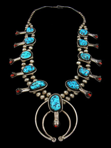 Old Pawn Jewelry Sleeping Beauty Turquoise and Coral Squash Blossom Necklace