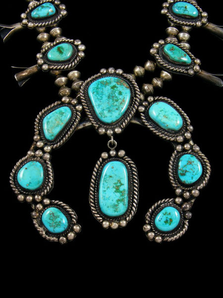 Old Pawn Native Natural Turquoise Squash Blossom Necklace