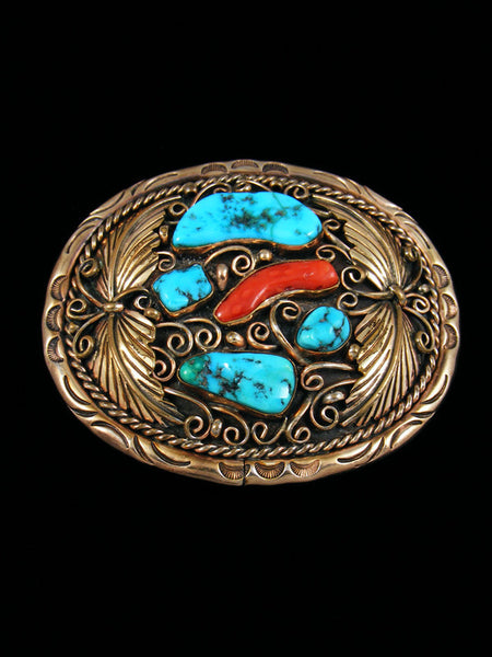 Estate Indian Jewelry Turquoise and Coral Buckle