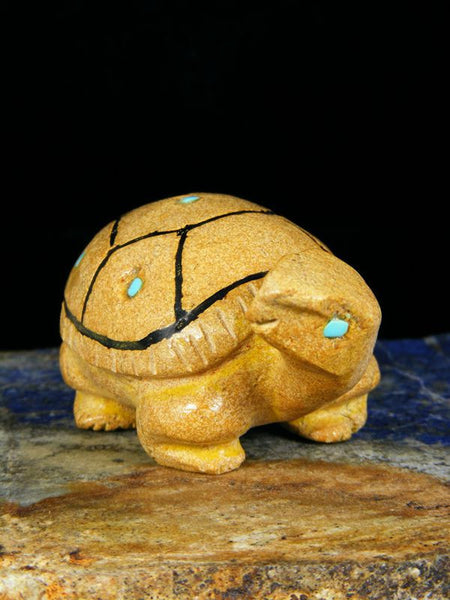 Travertine Turtle Zuni Fetish by Freddie Leekya - PuebloDirect.com - 1