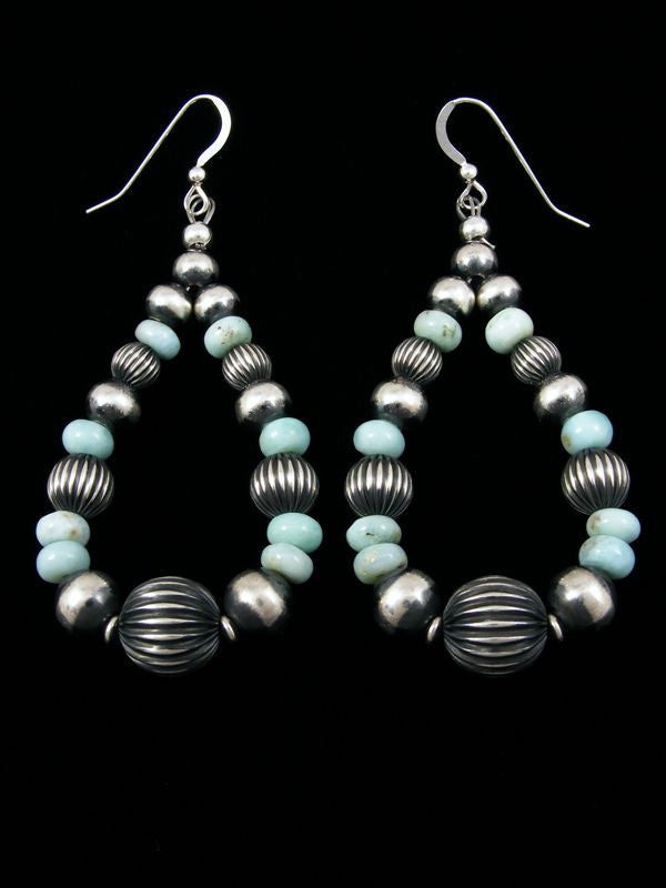 Dry Creek Turquoise Earrings by Navajo Artist - PuebloDirect.com