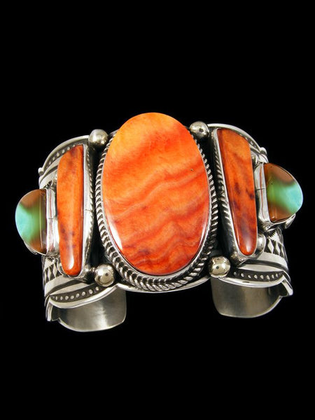 Native American Spiny Oyster and Turquoise Bracelet by Albert Jake - PuebloDirect.com - 1