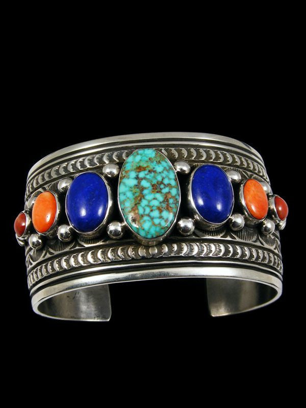 Native American Turquoise, Lapis, and Spiny Oyster Bracelet by Darryl Becenti - PuebloDirect.com - 1
