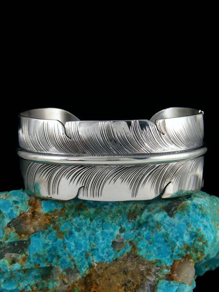 Navajo Hand Cut Sterling Silver Feather Bracelet