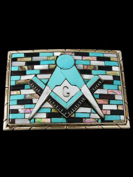 Old Indian Jewelry Sterling Silver Zuni Inlaid Belt Buckle by Bobby Concho - PuebloDirect.com
