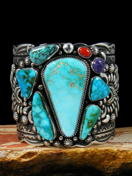Native American Sterling Silver Turquoise Picasso Bracelet