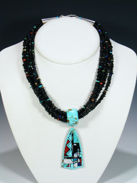 Native American Santo Domingo Inlay Necklace