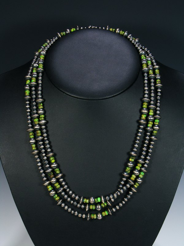 Extra Long Wrap Native American Bench Bead Gaspeite Necklace