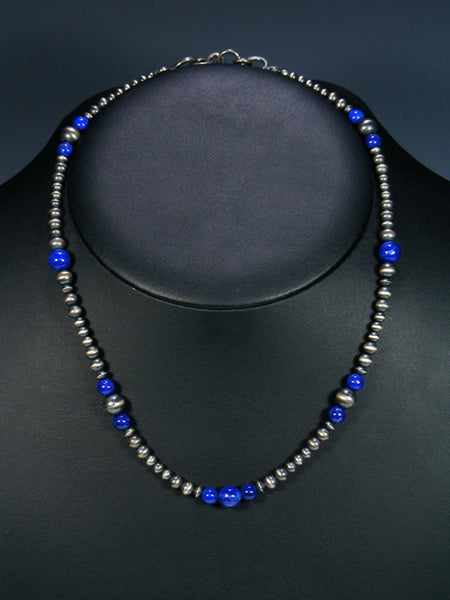 Single Strand Native American Lapis and Silver Bead Necklace