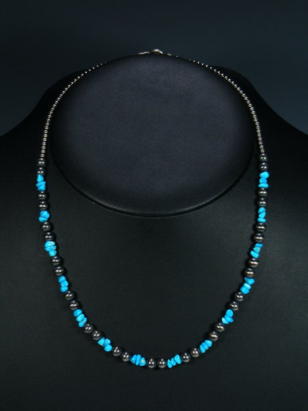 Navajo Jewelry Single Strand Blue Turquoise Bead Necklace