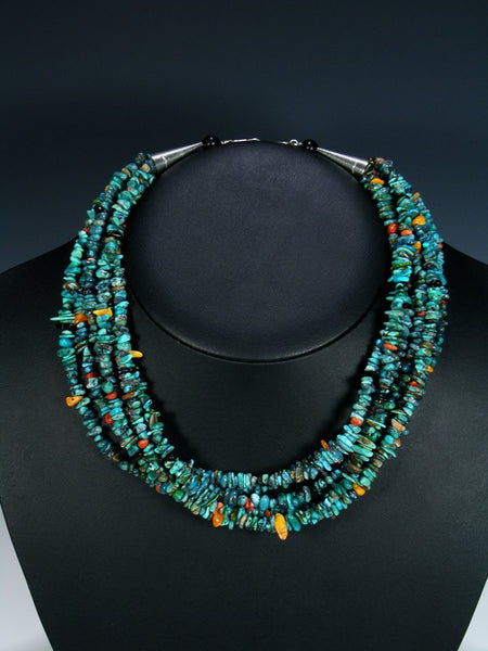 Native American Santo Domingo Multi-Strand Turquoise Necklace
