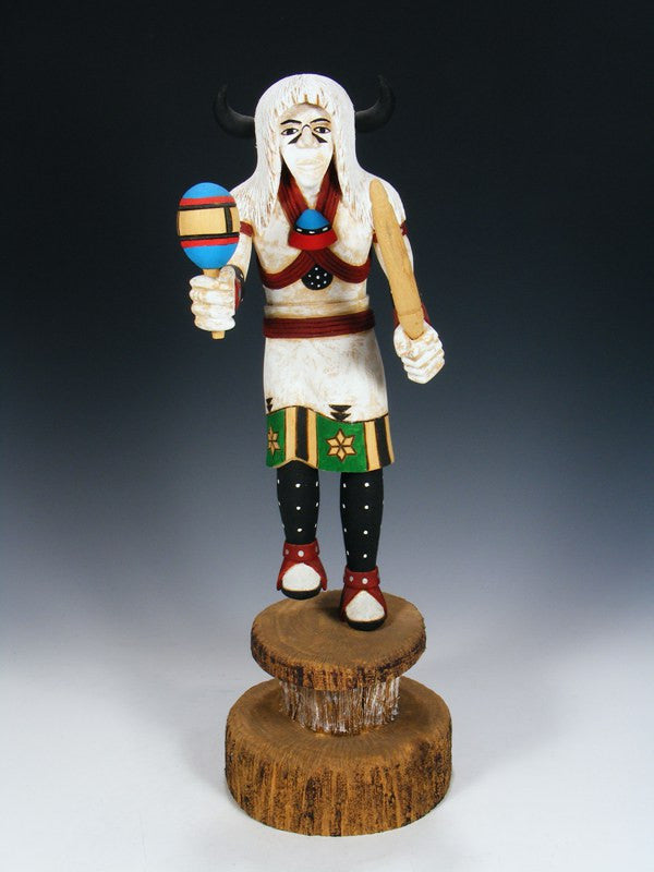 Hopi Carved White Buffalo Pueblo Kachina Doll