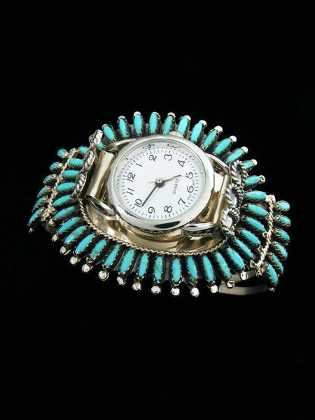 Native American Indian Sterling Silver Turquoise Ladies' Cuff Watch by Navajo Artist - PuebloDirect.com