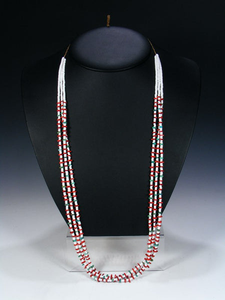 Native American White Shell Turquoise Coral Triple Strand Necklace