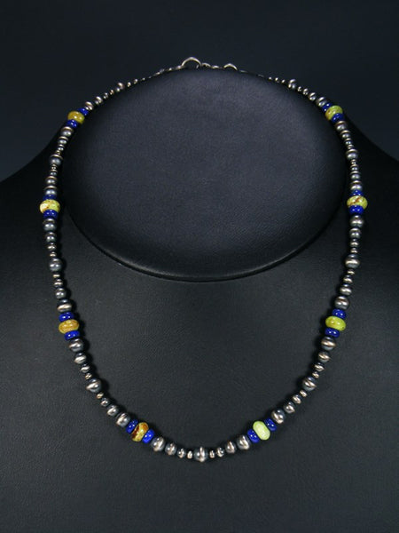 Native American Gaspeite and Lapis Bead Necklace
