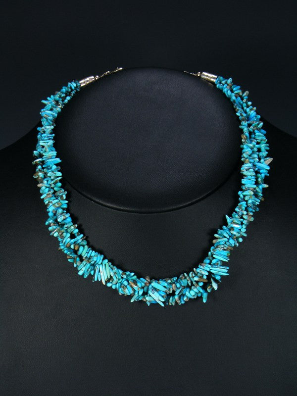 Native American Three Strand Twist Turquoise Necklace
