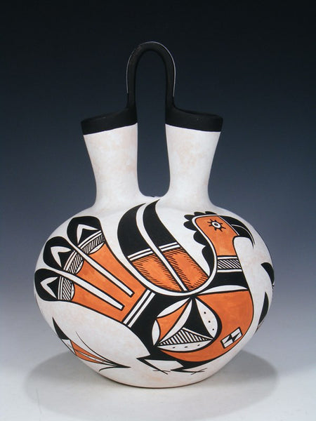 Acoma Pueblo Pottery Painted Parrot Wedding Vase