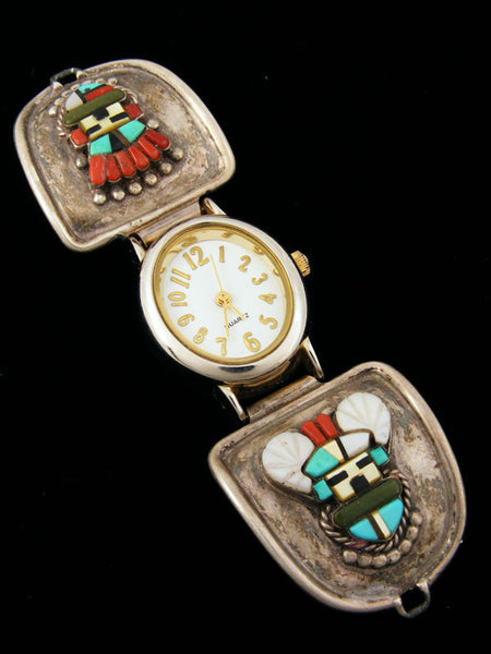 Old Pawn Indian Jewelry Zuni Inlay Watch by Sybil Cachini - PuebloDirect.com