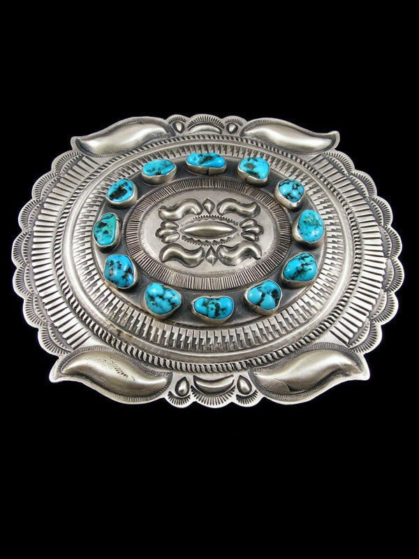 Native American Indian Jewelry Hand Crafted Sterling Silver Turquoise Buckle by Eugene Charley - PuebloDirect.com