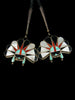 Old Pawn Indian Jewelry Sterling Silver Zuni Inlay Bolo by R B - PuebloDirect.com - 2