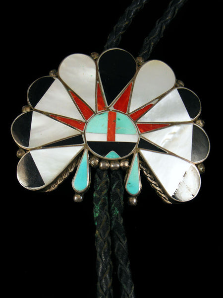Old Pawn Indian Jewelry Sterling Silver Zuni Inlay Bolo by R B - PuebloDirect.com - 1