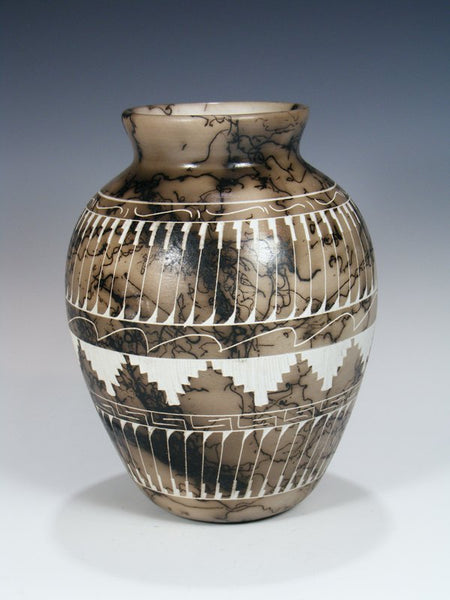 Navajo Etched Horsehair Pottery Vase