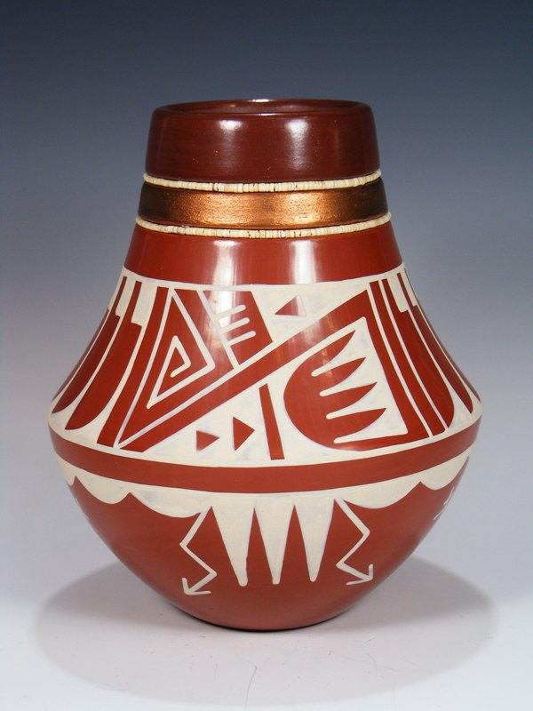 San Ildefonso Pueblo Hand Coiled Red Clay Pottery Vase