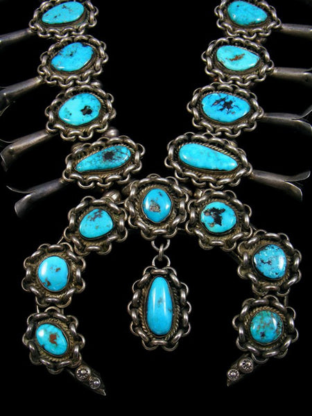 Old Pawn Morenci Turquoise Squash Blossom Necklace