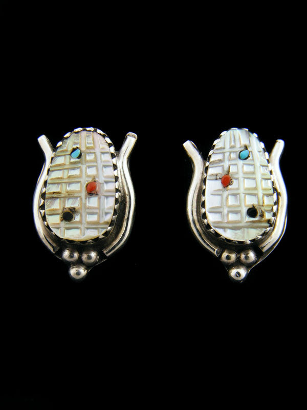 Native American Indian Jewelry Zuni Earrings by Tracey Bowekaty - PuebloDirect.com