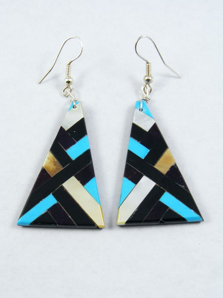 Purple Dyed Allunite and Turquoise Santo Domingo Inlay Earrings