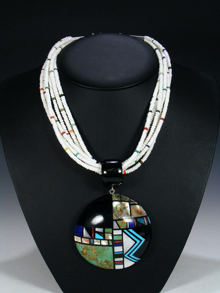 Native American Santo Domingo Inlay White Shell Necklace