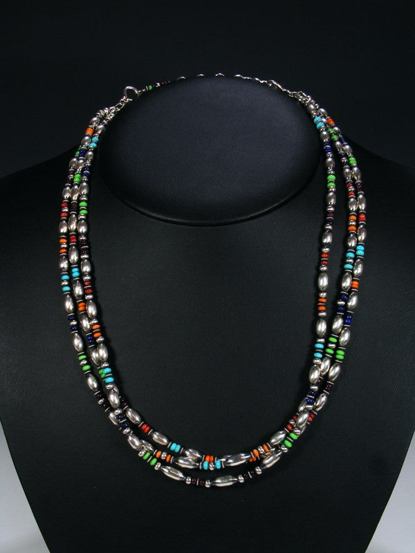 Native American Sterling Silver Multi Stone Bead Necklace