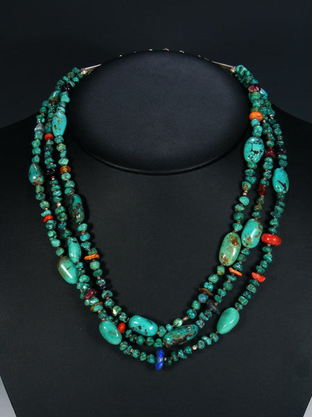 Santo Domingo Treasure Bead Turquoise Necklace