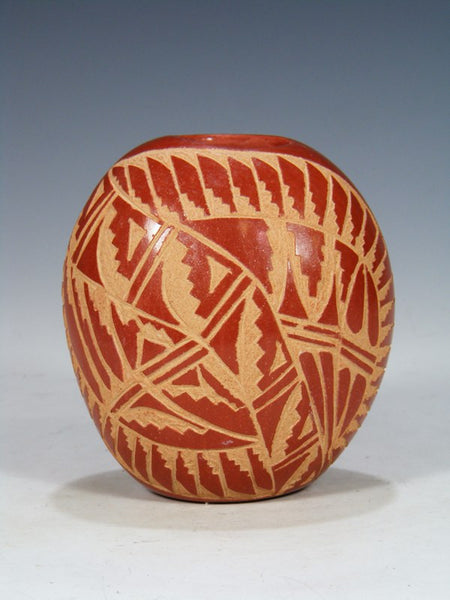 Etched Jemez Pueblo Pottery Seed Pot