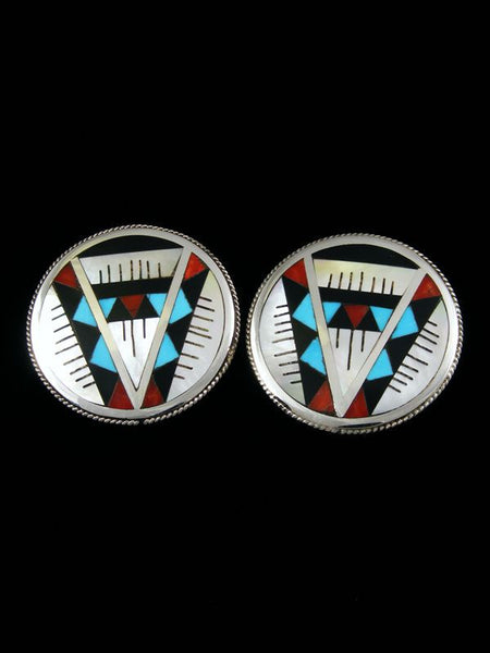 Zuni Inlay Earrings by Leander Othole - PuebloDirect.com