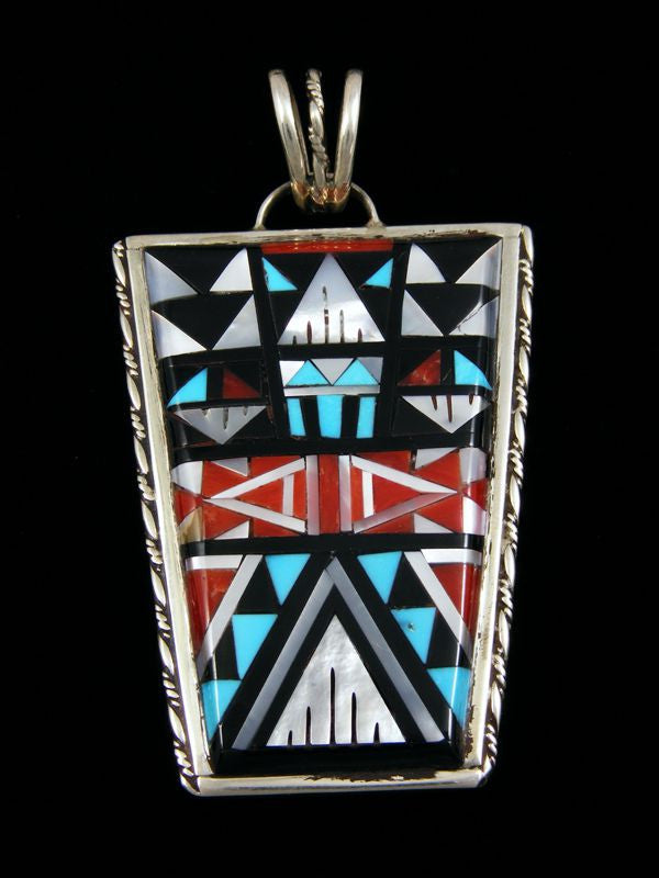 Sterling Silver Native American Zuni Inlay Pendant by SD Boone - PuebloDirect.com
