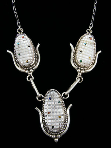 Sterling Silver Zuni Necklace and Earrings Set by Tracey Bowekaty - PuebloDirect.com - 1
