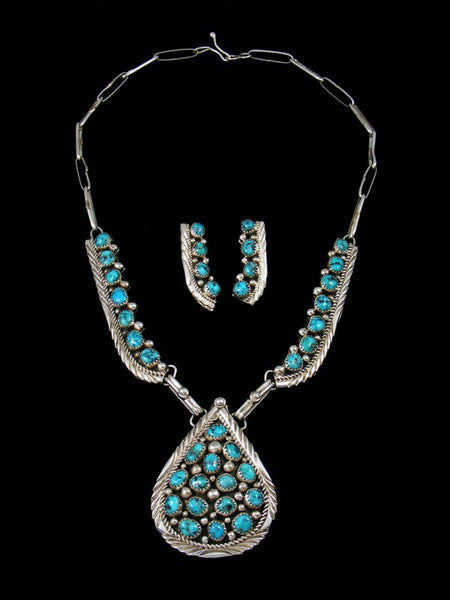 Native American Sterling Silver Turquoise Necklace and Earrings Set