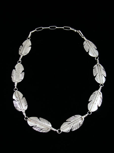 Navajo Sterling Silver Feather Choker Necklace