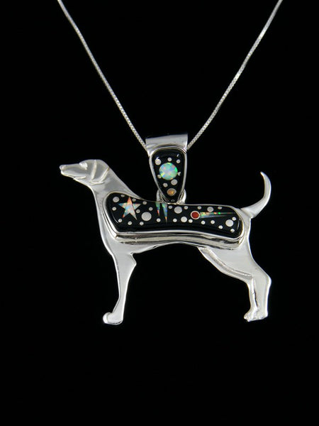 Sterling Silver Night Sky Dog Inlay Pendant