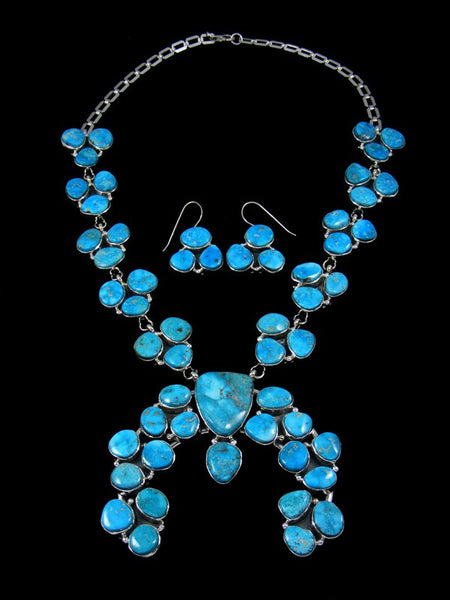 Native American Sterling Silver Kingman Squash Blossom Necklace Set