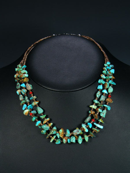 Three Strand Native American Turquoise and Heishi Necklace