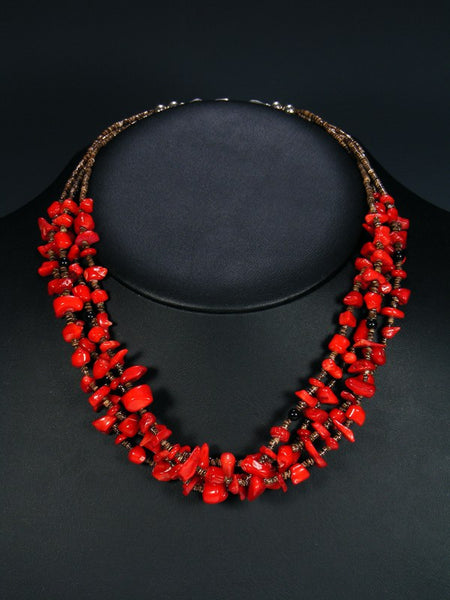 Four Strand Native American Coral and Onyx Heishi Necklace