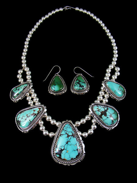 Natural High Grade Royston Turquoise Necklace and Earring Set