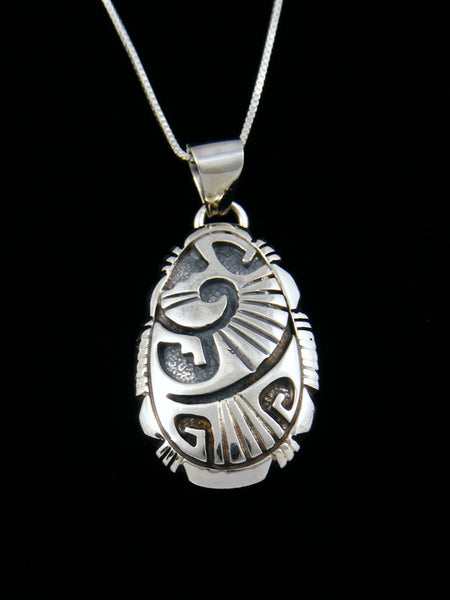 Navajo Sterling Silver Overlay Pendant Necklace