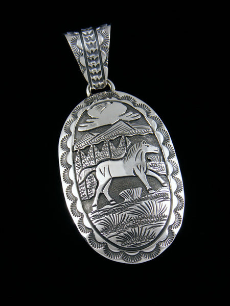 Horse Navajo Stamped and Overlay Sterling Silver Pendant