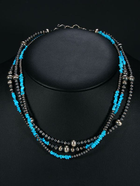 Native American Turquoise and Silver Bead Necklace by Theresa Belone - PuebloDirect.com