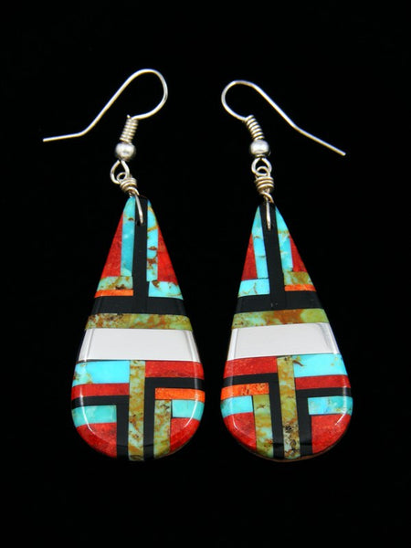 Santo Domingo Inlay Turquoise Dangle Earrings