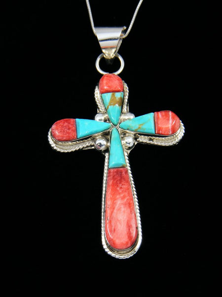Navajo Inlay Spiny Oyster and Turquoise Cross Pendant