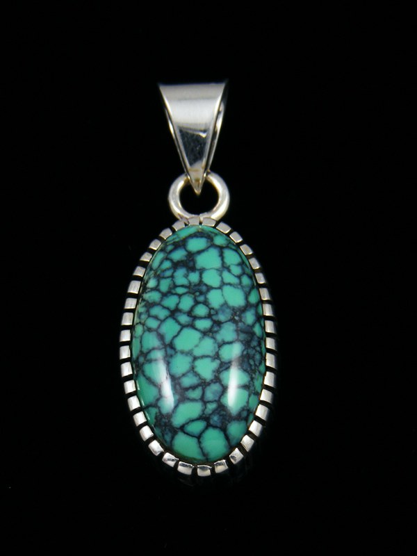 Native American Natural Turquoise Sterling Silver Ingot Pendant
